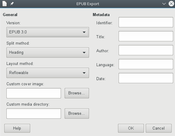 the ePub export dialog in LibreOffice 6.1