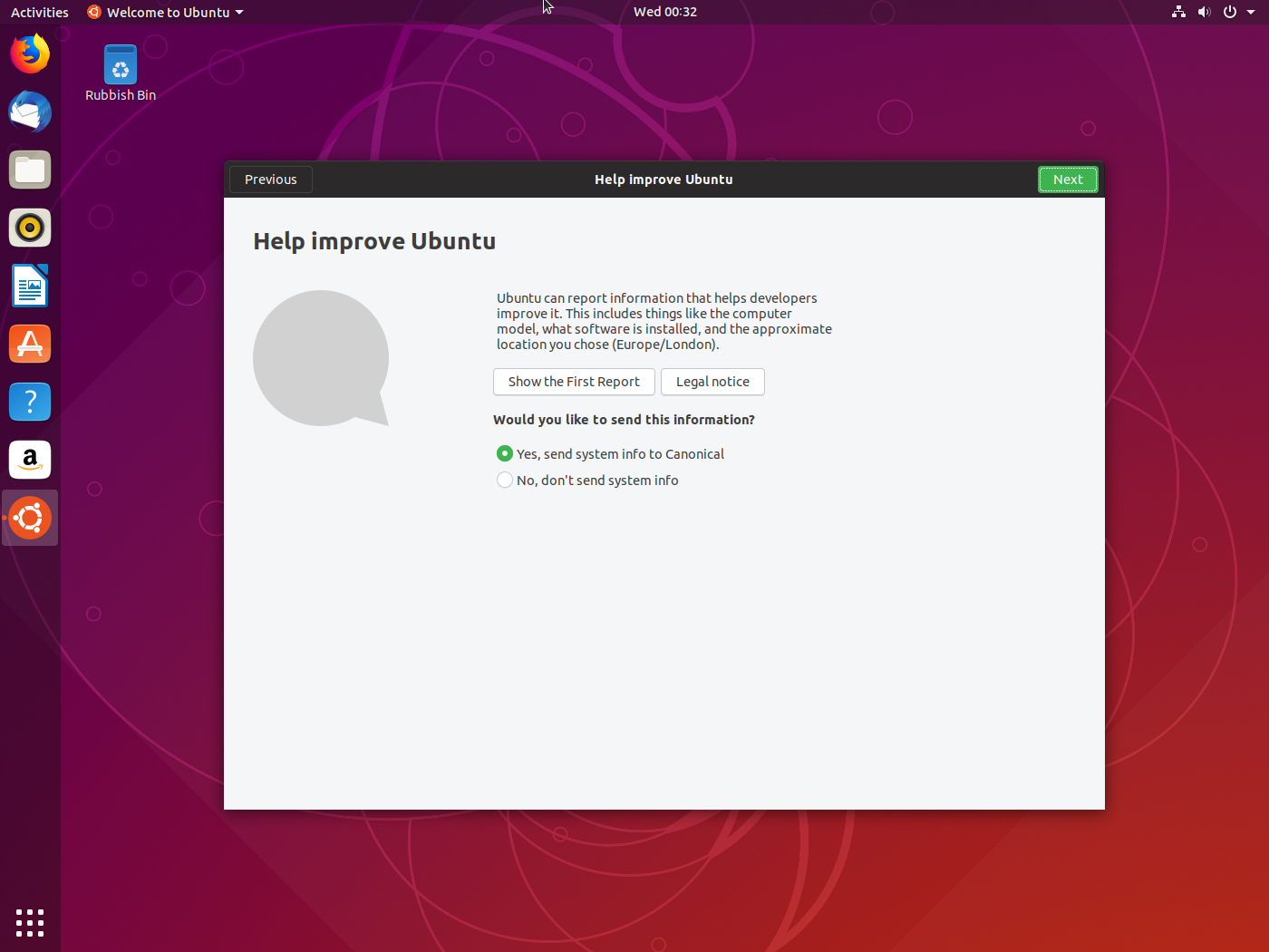 Ubuntu Report permission page