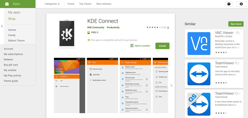 The KDE Connect app on Google Play Store