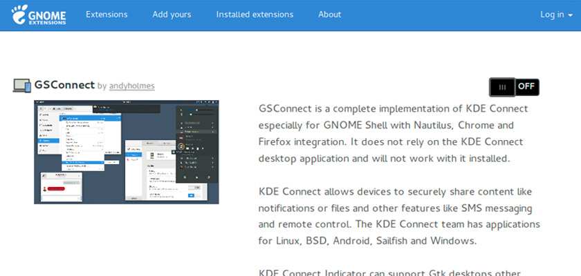 The gsconnect GNOME Shell extension