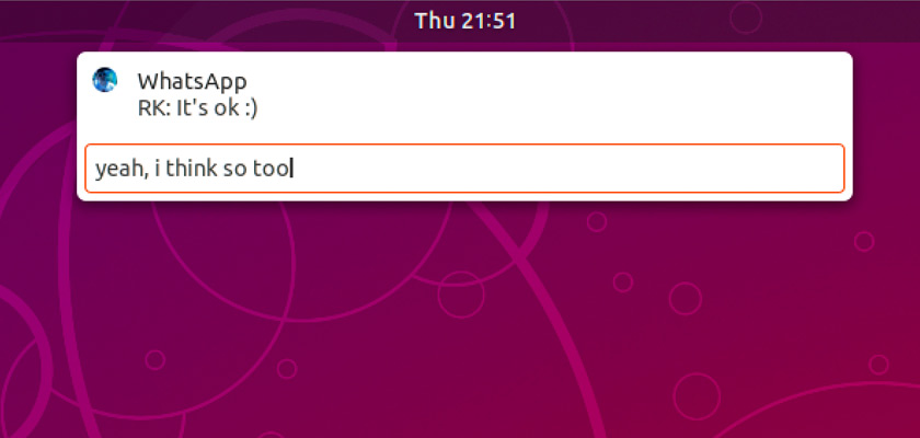 inline reply to android notifications on ubuntu desktop