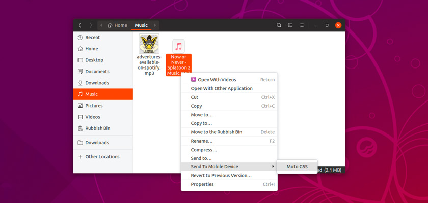 transfer files from ubuntu to android