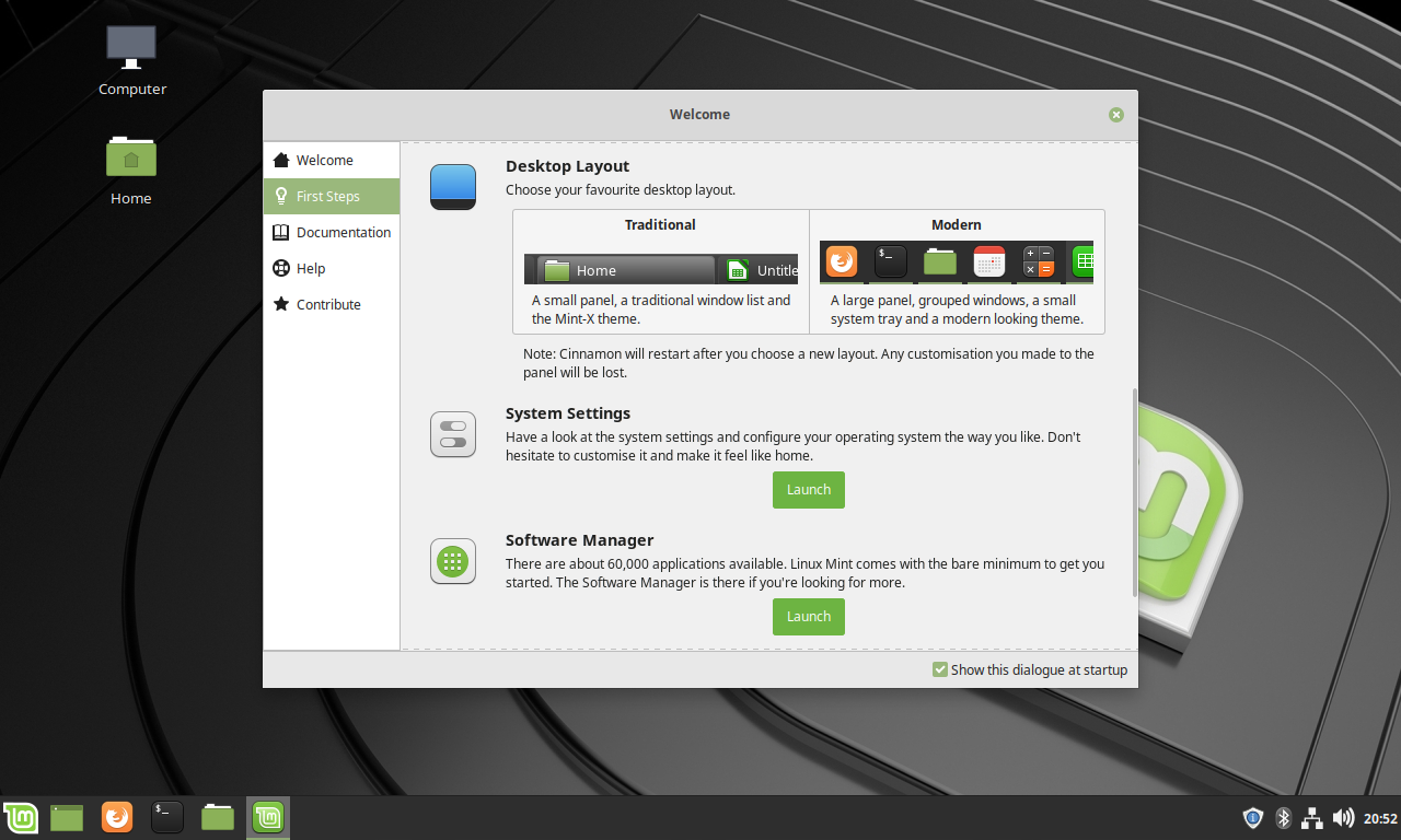 Linux Mint 19.1 Welcome Screen