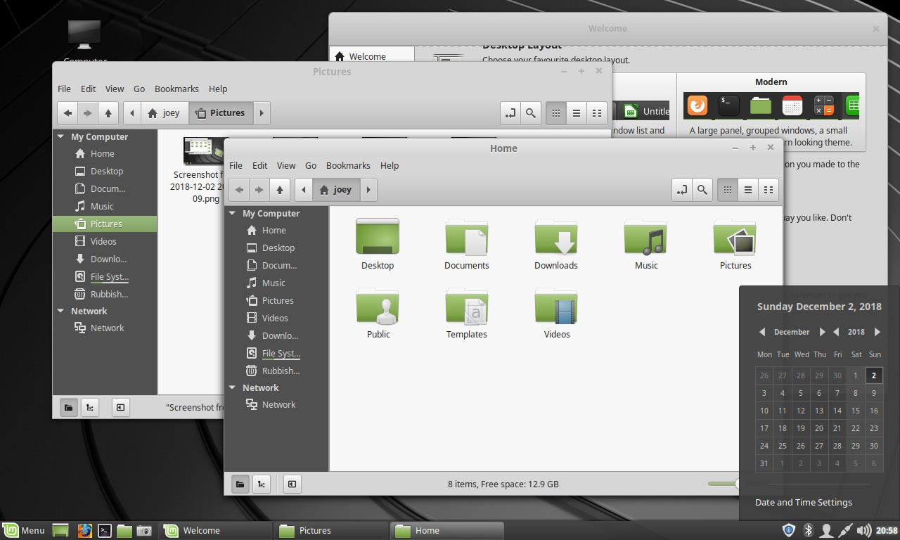 linux mint 19.1 traditional desktop layout