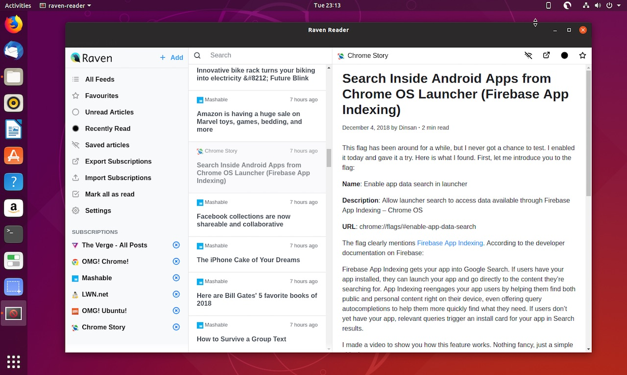 raven reader rss reader layout