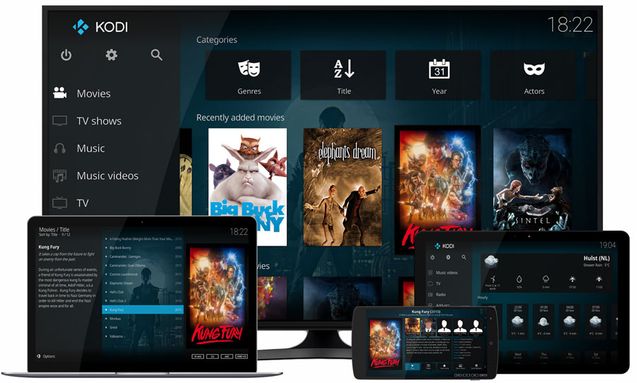 kodi media center running on various devices