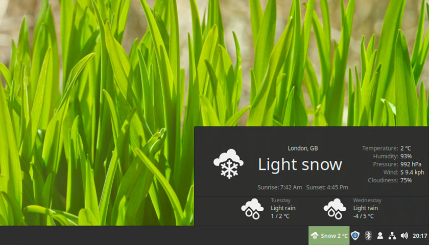 Linux Mint Weather Applet on the bottom panel in cinnamon
