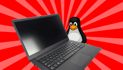 Pinebook Pro laptop with linux mascot