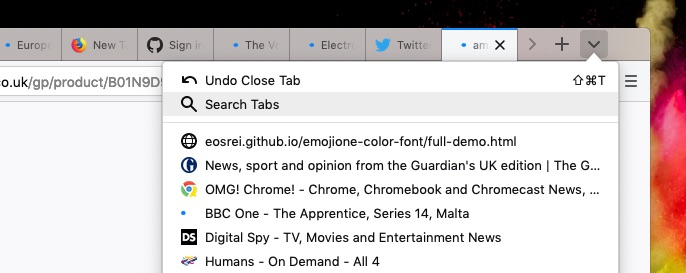 Firefox tab search shortcut