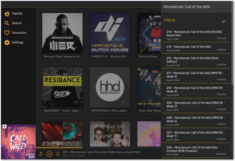 screenshot of poddr podcast client