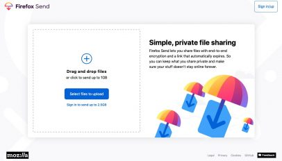 A screenshot of Firefox Send