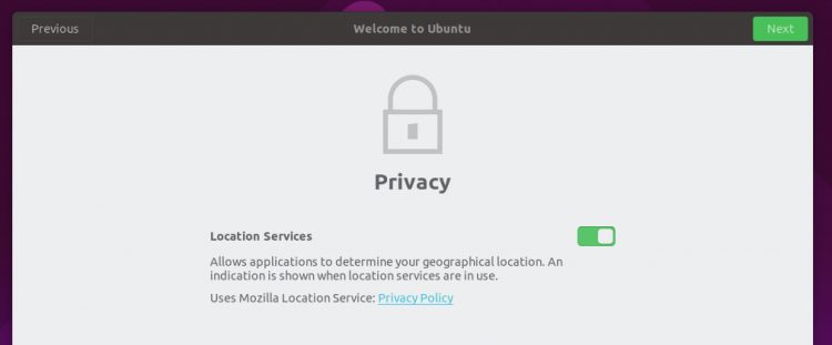Ubuntu 19.04 lets you set up location services