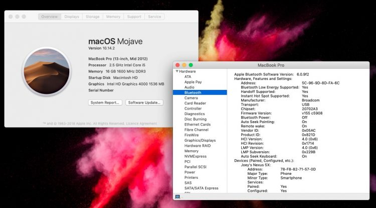 the macOS system information tool shows a wealth of hardware details