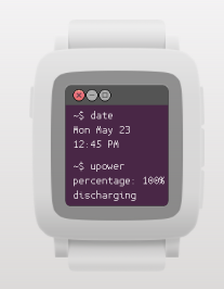 pebble time with Ubuntu watch face