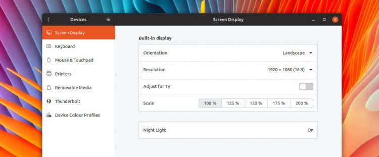 fractional scaling in ubuntu 19.04 settings