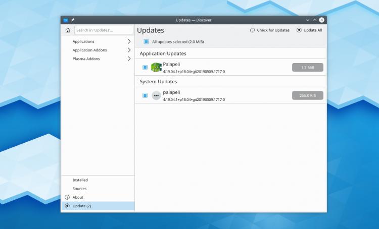 Screenshot of Discover in KDE Plasma 5.16