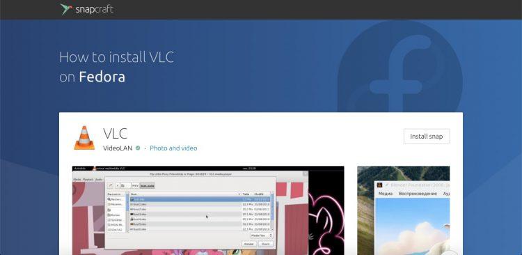 Snapcraft Store Fedora page