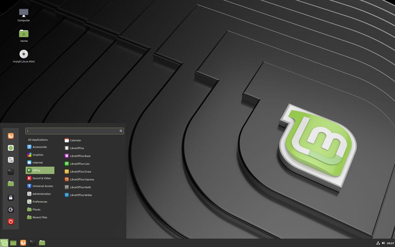 Linux Mint 19.2 desktop screenshot with menu open