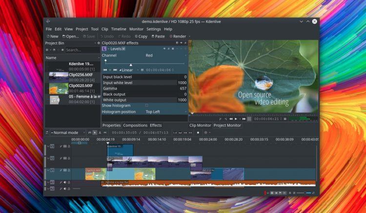 Tangkapan layar editor video Kdenlive