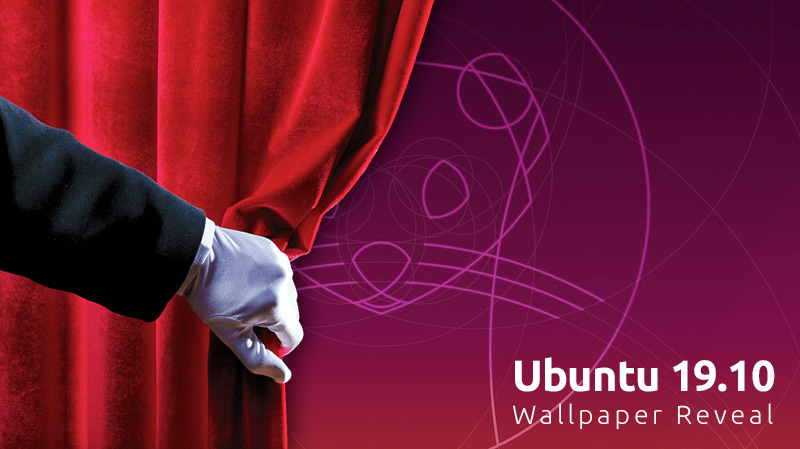 A hand pulling a curtain back overlaid on the Ubuntu 19.10 default wallpaper