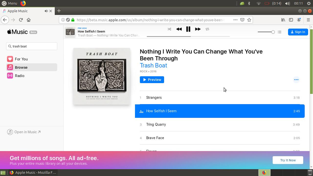screenshot of the Apple Music beta web app open in Firefox