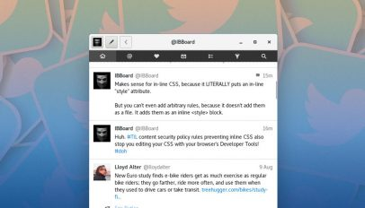 screenshot of cawbird twitter client