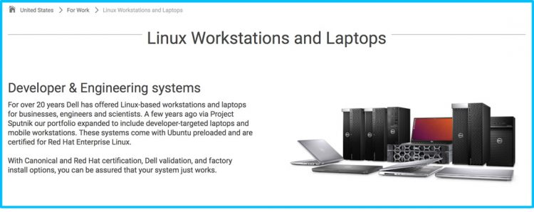 Screenshot of the Dell Linux Range