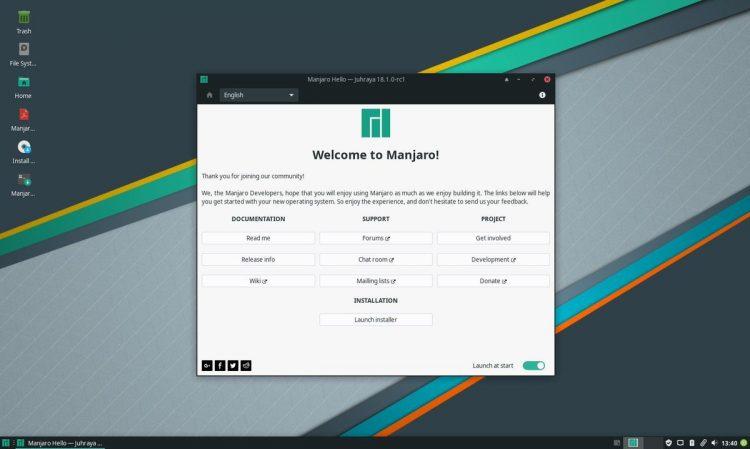 manjaro 18.1.0 desktop screenshot 750x449 - بهترین توزیع های لینوکس برای مبتدیان