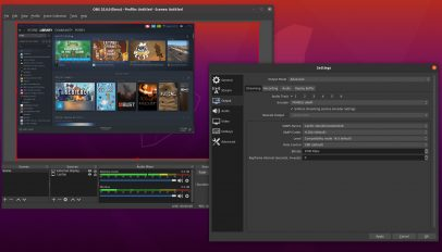 A screenshot of OBS Studio on Ubuntu 20.04