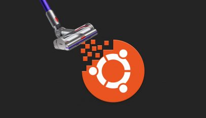 ubuntu logo being hoovered