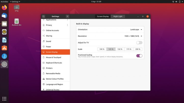 Ubuntu 20.04 screenshot: Display Settings