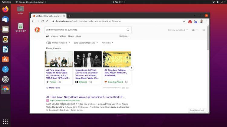 Google Chrome running on Ubuntu 20.04 LTS