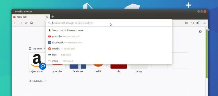 Firefox 75 address bar shows top sites