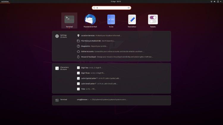 ubuntu 20.04 search screen