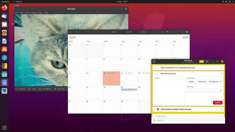 ubuntu 20.04 Shotwell, calendar and To do app screenshot