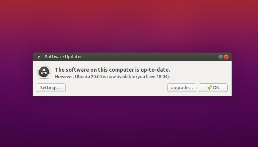 Ubuntu 20.04 upgrade prompt
