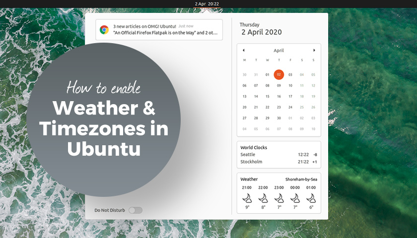 Enable weather timezones gnome shell
