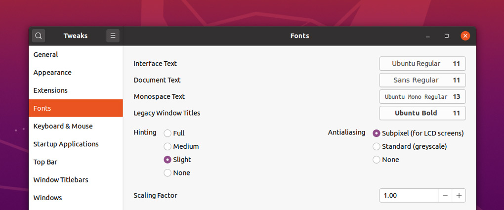 a screenshot of the fonts section in GNOME Tweak Tool