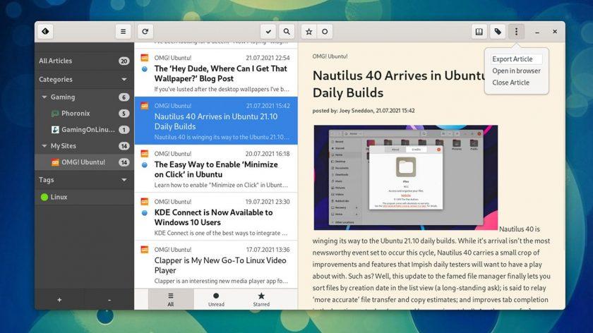 newsFlash GTK Reader screenshot on Fedora