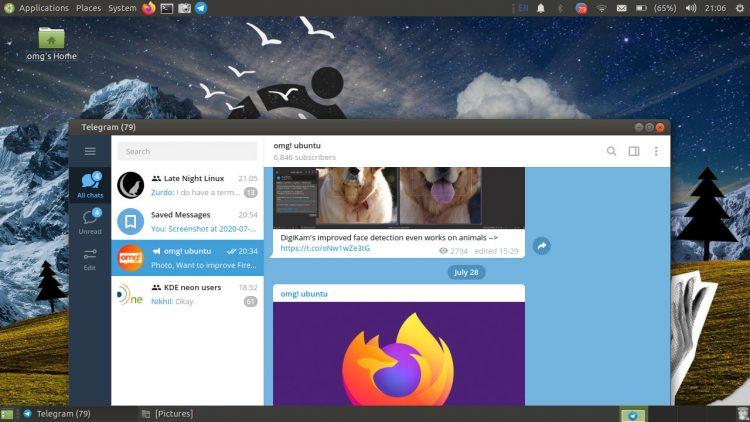 带有Telegram桌面客户端的Ubuntu MATE