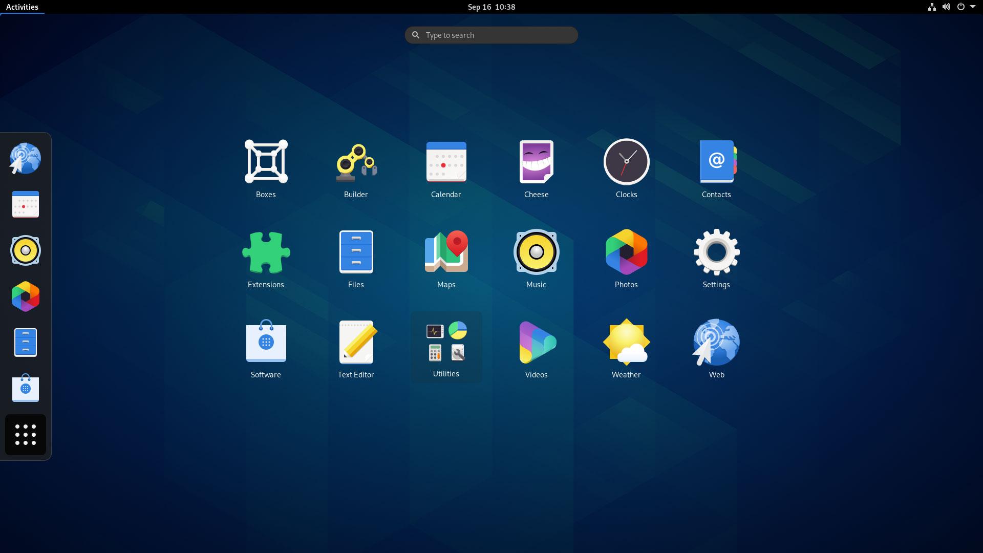 GNOME 3.38 app grid