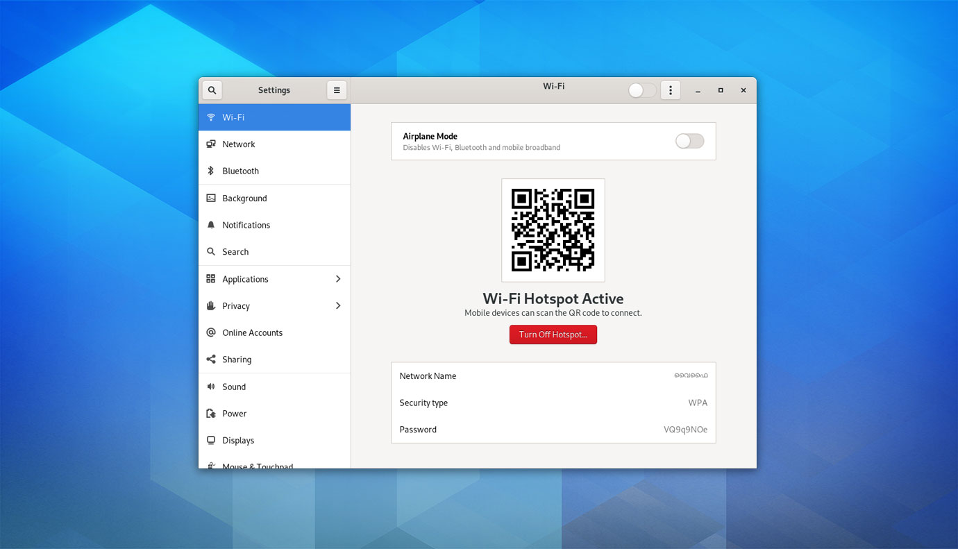 GNOME 3.38 features: Qr code hotspots