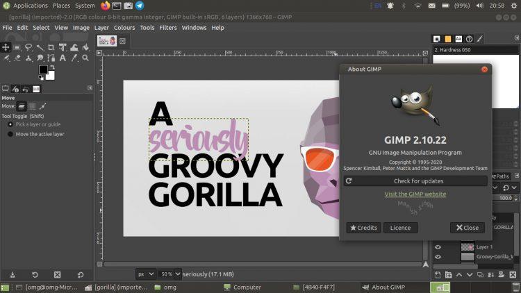 screenshot of GIMP 2.10.22 on ubuntu