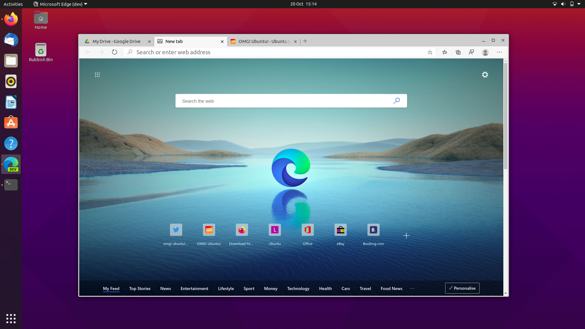 Microsoft Edge Dev for Linux
