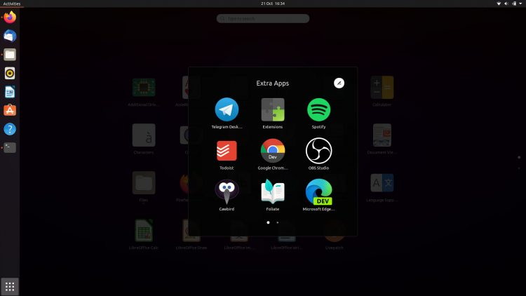 Ubuntu 20.10: App Folders