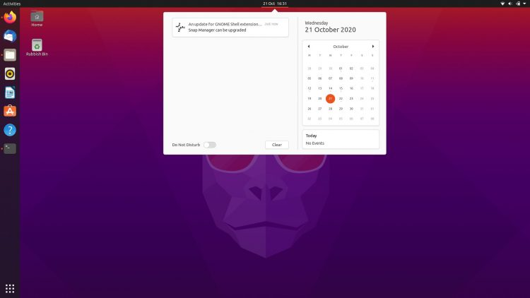 ubuntu 20.10 message tray