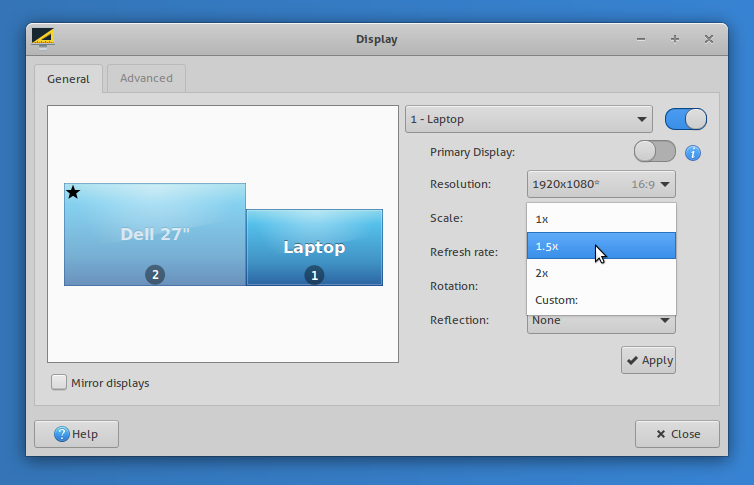 fractional scaling support in xfce 4.16