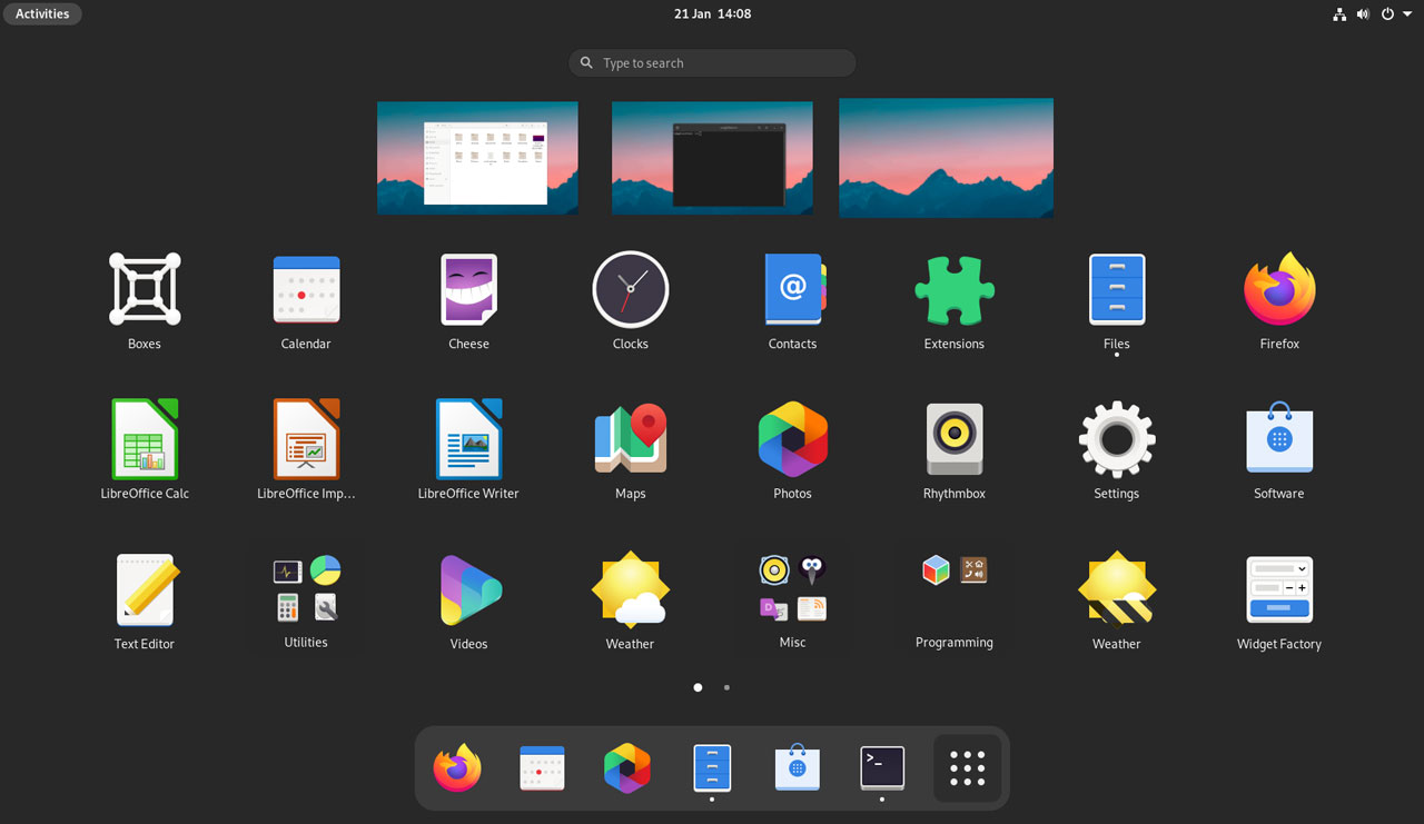 GNOME 40 screenshot of the app launcher
