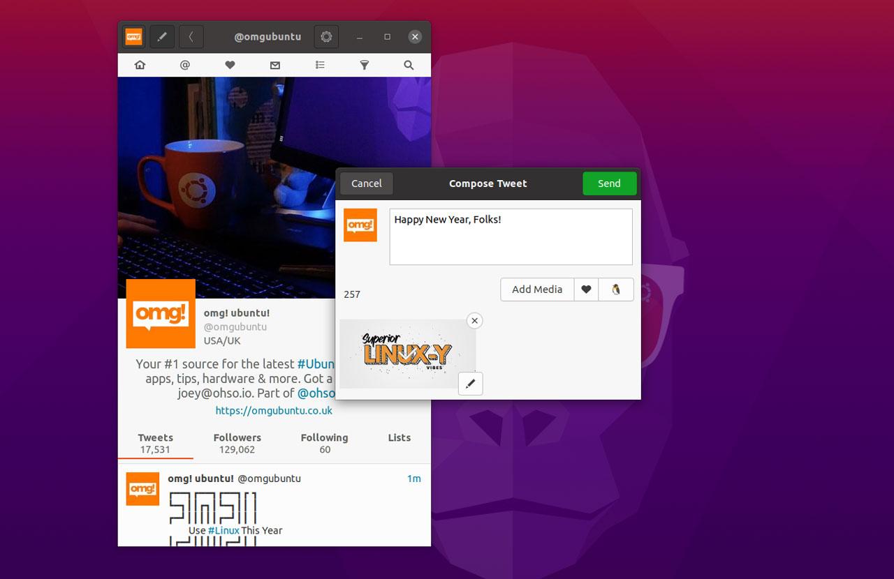 cawbird 1.3 screenshot on ubuntu