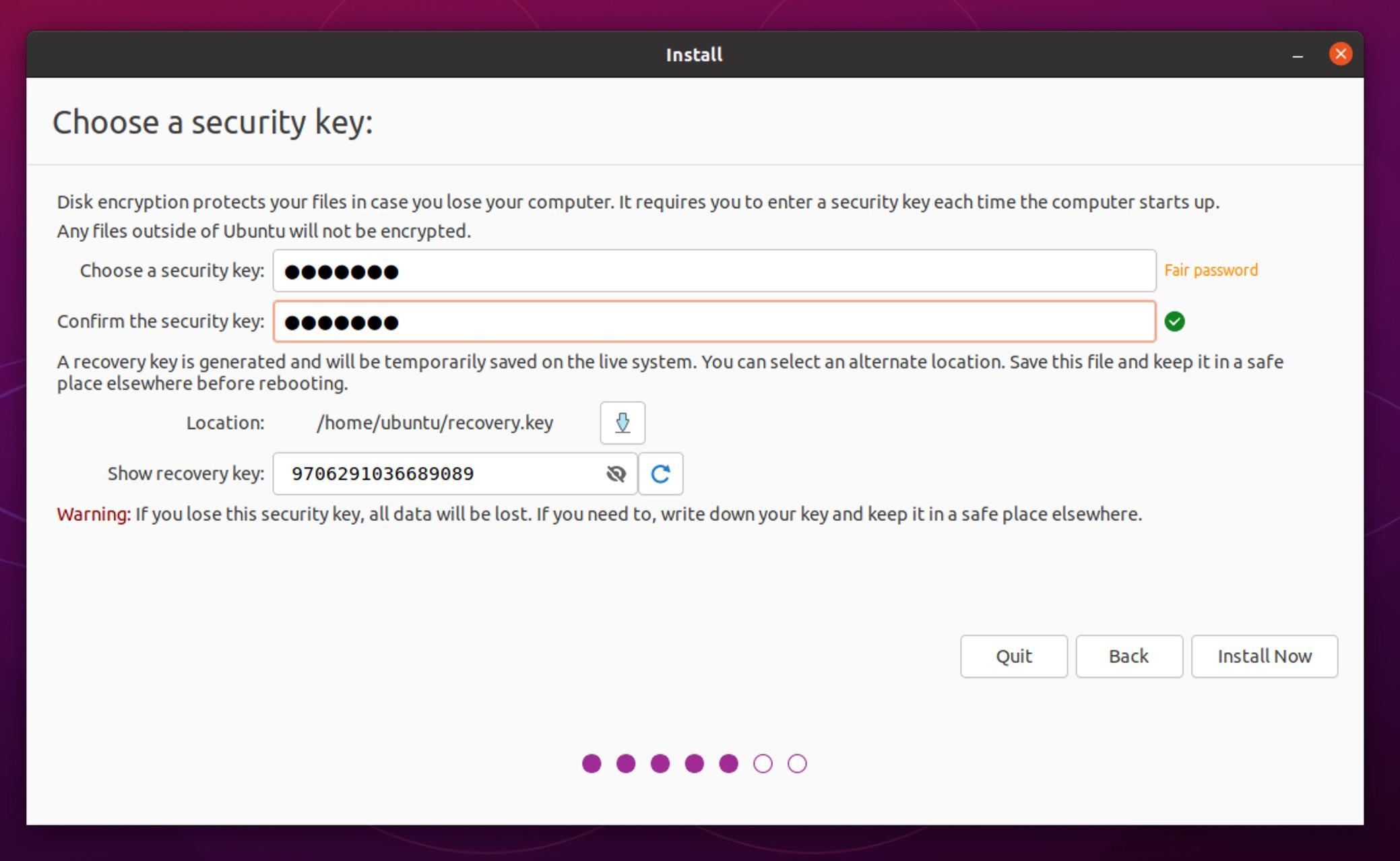 Ubuntu 21.04 installer recovery key